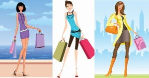 3ShoppingGirlsVectorIllustration